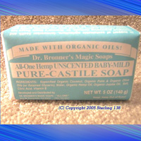 Dr. Bronner's Baby MILD castile BAR soap ORGANIC OILS - Click Image to Close