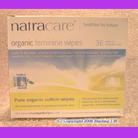 natracare 100% ORGANIC COTTON feminine wipes 36 PACK